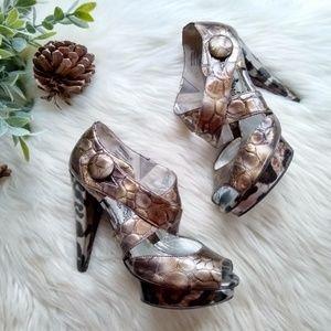 Naughty Monkey • embossed strappy platform heels